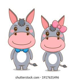 Cute couple donkey vector design illustration