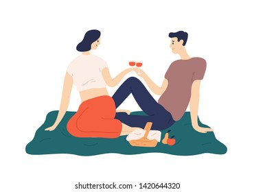 Cute couple drinking wine during romantic date outdoors. Portrait of boyfriend and girlfriend enjoying food at picnic. Man and and woman celebrating anniversary. Flat cartoon vector illustration.