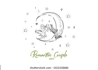 Cute couple floating in sky, half moon and stars in skyscape, man and woman holding hands, falling in love together. Relationship goals concept sketch. Hand drawn vector illustration