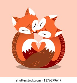 Cute couple of foxes in simple flat style. Heart shape, composed of fox tails. Lovers animals. Bright vector illustration. Cartoon poster, Valentine's day card.