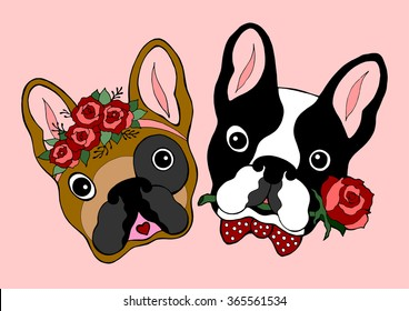 cute couple french bulldog dating, hand drawn vector illustration design, sugar skull dogs, valentines