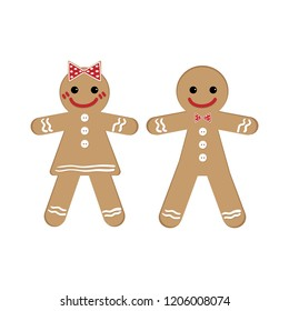 Cute couple of gingerbread with ribbons on white background. Christmas holidays cartoon character design for winter holidays greeting season. Vector illustration