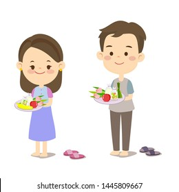 Cute Couple Give Alms Buddhist Monk Vector
