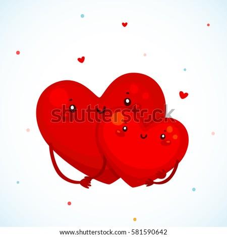 Cute Couple Heart Cartoon Characters Family Stock Vector Royalty