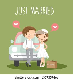 cute couple just married cartoon character