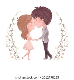 Cute couple kiss. Man and women hold hands. Sweet and romantic embrace. Wedding invitation, save the date or valentine day card design. Lovely family print. Girl and boy together. People relations