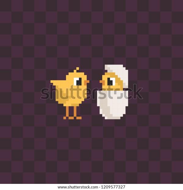 Cute Couple Little Chicken Pixel Art Stock Vector Royalty