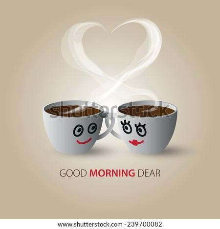 Cute Couple Love Coffee Cups Inscription Stock Vector Royalty Free