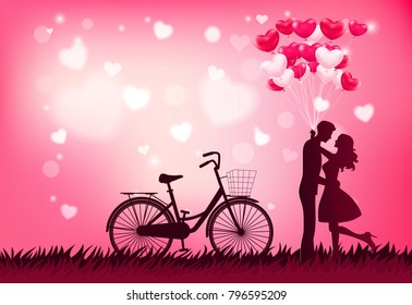 Cute couple in love hugging, staring at each other's eyes and holding heart balloons, beautiful blur background,flat-style vector illustration.