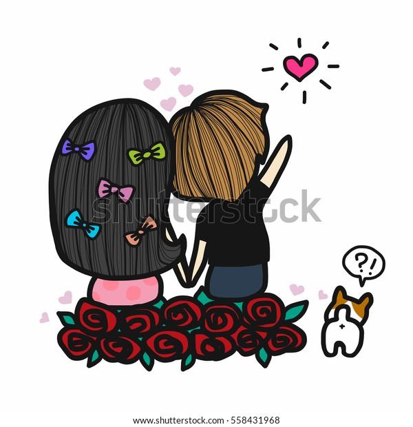 Cute couple in love looking star cartoon illustration