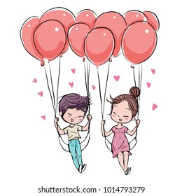 Cute couple in love Valentine's Day, Vector Illustration hand drawing.