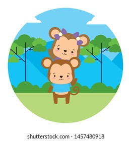 cute couple monkey animal landscape natural vector illustration