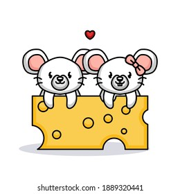 Cute couple of mouse in Valentine's Day