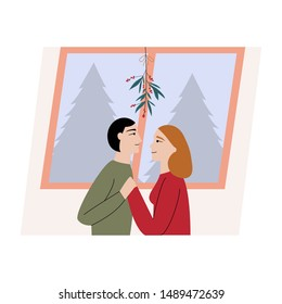 A cute couple on Christmas tree. Man and woman kissing under a mistletoe holding hands and watching in each other eyes. Flat cartoon vector illustration