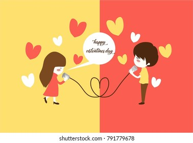 Cute couple playing rope phone traditional communication with the heart. Illustrative happy valentine's day card, poster, or banner. Long distance relationship member.