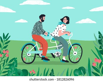 Cute couple riding on tandem bike at nature landscape vector flat illustration. Enamored man and woman enjoying physical activity on bicycle together. Happy people spending time at outdoor date