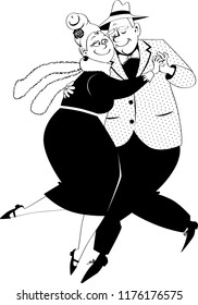 Cute couple of senior citizens dancing tango, EPS 8 vector illustration, no white objects