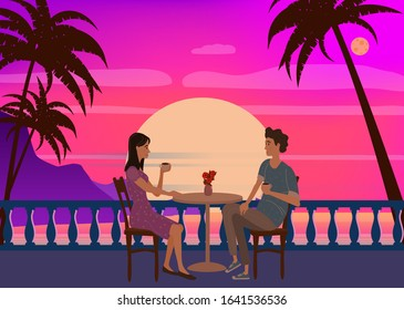 Cute couple sitting at table, drinking tea or coffee and talking in open air cafe sunset sea ocean. Young man and woman romantic relationship. Male female characters. Vector illustration flat cartoon