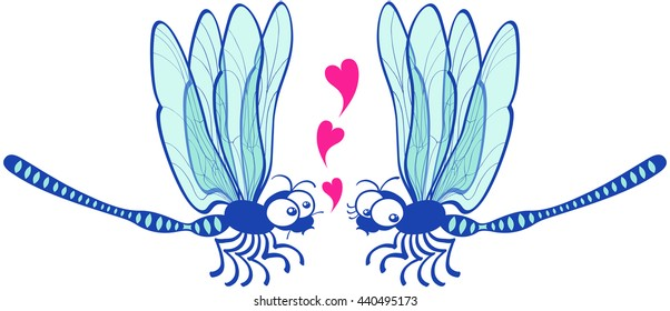 Cute couple of slim blue dragonflies flying in front of each other while the male declares its love by showing floating hearts and the female looks a little bit shy and doubtful