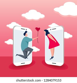 Cute couple with smartphone concept of online dating vector illustration