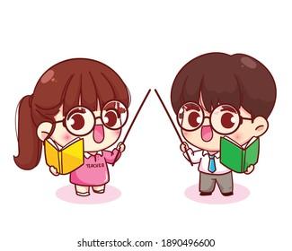 Cute couple teacher cartoon character illustration Premium Vector