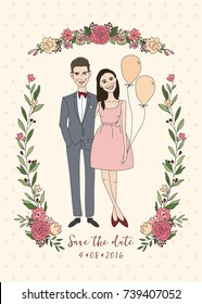 Cute couple. Wedding invitation with bride and groom and floral elements. Love and wedding cards. Romantic concept. Vector illustration