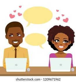 Cute couple at work using computer working together in love