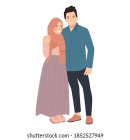 cute couple young man and woman cartoon vector illustration