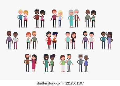 Cute couples with isolated background vector illustration