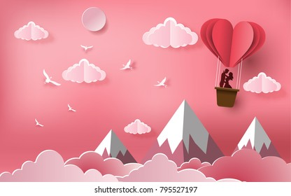 Cute couples in love hugging, staring at each other's eyes and standing inside a basket of an air balloon, paper art style, flat-style vector illustration.