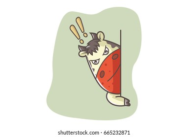 Cute Cow angrily looking from the wall. Vector illustration. Isolated on white background.