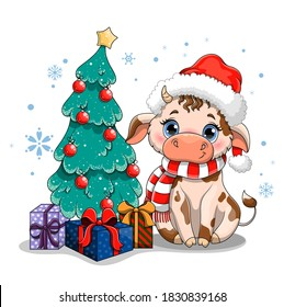 Cute cow with big blue eyes in a Santa Claus hat, symbol of 2021 sitting sitting next to a decorated Christmas tree. Flat cartoon vector illustration