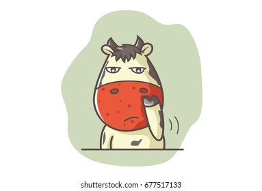 Cute Cow Bored. Vector Illustration. Isolated on white background.