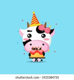 Cute cow brings birthday cake