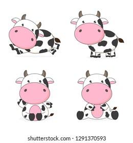 Cute cow cartoon character vector illustration
