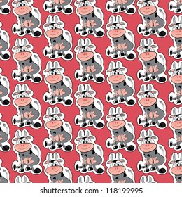 cute cow cartoon on pink background as seamless pattern, vector
