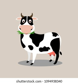 Cute cow character cartoon eat grass - Vector illustration