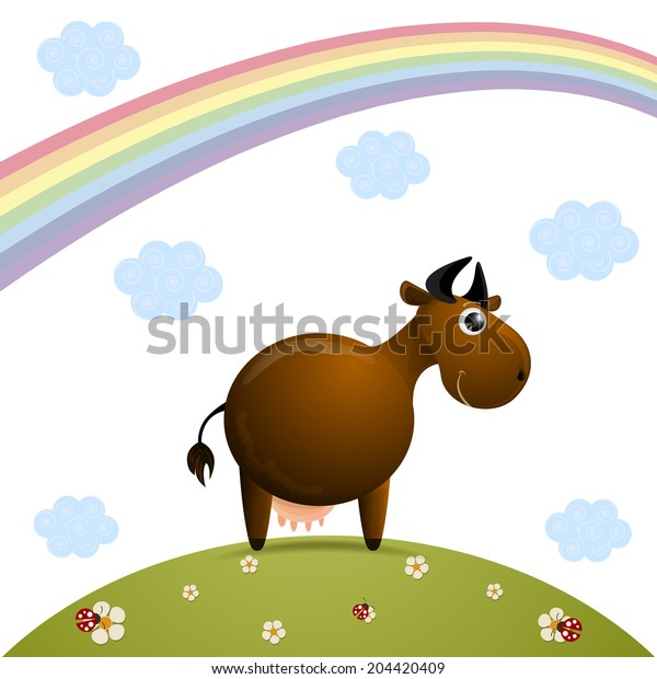 cute cow character vector