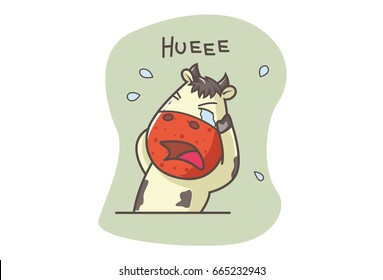Cute Cow Crying. Vector illustration. Isolated on white background.
