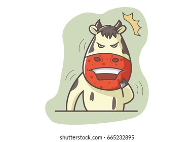 Cute Cow Disgusted. Vector illustration. Isolated on white background.