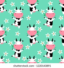 Cute cow eating grass. Seamless pattern. Vector pattern with cute cows and flowers. Vector illustarion. Childish vector seamless wallpaper with daisies