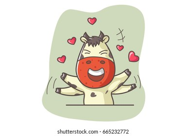 Cute Cow excited in Love. Vector illustration. Isolated on white background.
