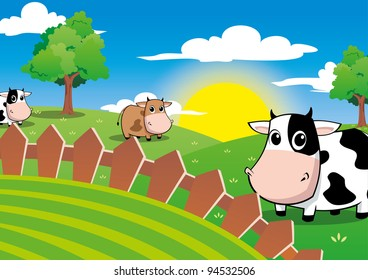 Cute cow in the farm field with beautiful sunlight in the clear blue sky