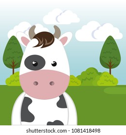 cute cow in the field landscape character