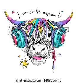 Cute cow (Hairy Coo) with a rainbow long hair, unicorn horns and in a headphone. I am so magical - lettering quote. Humor card, t-shirt composition, hand drawn style print. Vector illustration.