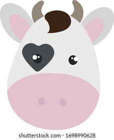 Cute cow head, vector illustration