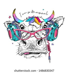 Cute cow in a headphones and glasses with a rainbow unicorn horns. I am so magical - lettering quote. Humor card, t-shirt composition, hand drawn style print. Vector illustration.