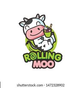 cute cow ice cream logo template