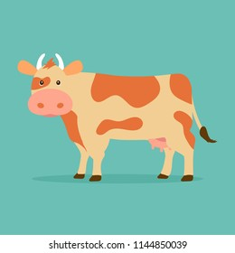 Cute cow isolated on blue background. Vector illustration in cartoon flat design style