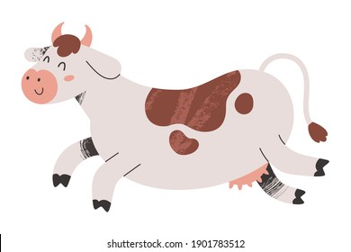 Cute cow jumping with happy face expression, farm animal illustration, illutrated mascot, vector clip art isolated on white background